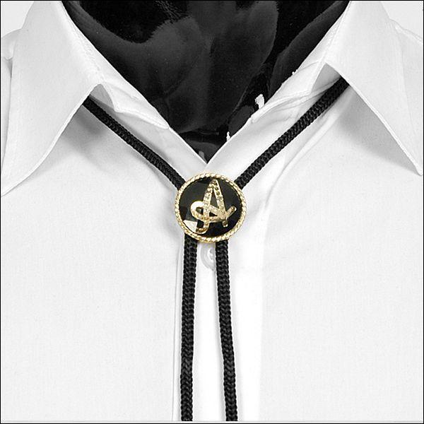 ループタイ ボロタイ イニシャル ペンダント ブラック&ゴールド 全9種 rt07 メンズアクセサリー 紳士用 ループタイ 紐付き ループタイ|coconoco