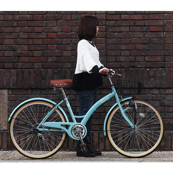 T-CCB266 ママチャリ 自転車 26インチ シマノ6段変速ギア カゴ 後輪錠 付き ダイナモライト 軽快車 TOPONE シティサイクル cocos-bike 02