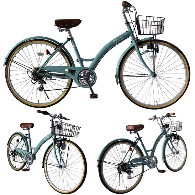 T-CCB266 ママチャリ 自転車 26インチ シマノ6段変速ギア カゴ 後輪錠 付き ダイナモライト 軽快車 TOPONE シティサイクル cocos-bike 10