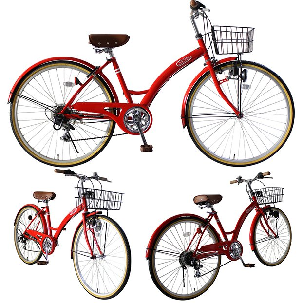 T-CCB266 ママチャリ 自転車 26インチ シマノ6段変速ギア カゴ 後輪錠 付き ダイナモライト 軽快車 TOPONE シティサイクル cocos-bike 12