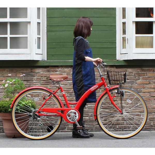T-CCB266 ママチャリ 自転車 26インチ シマノ6段変速ギア カゴ 後輪錠 付き ダイナモライト 軽快車 TOPONE シティサイクル cocos-bike 03