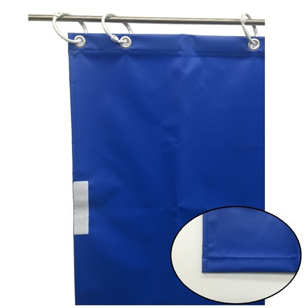 (代引不可)ユタカメイク:オーダー簡易間仕切りカラーターポリン ブルー 厚み0.25mm×幅80cm×高さ490cm