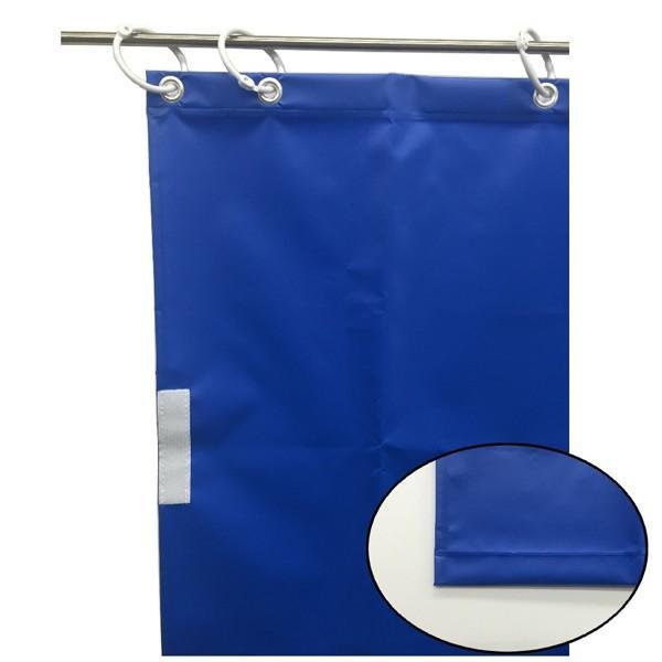 (代引不可)ユタカメイク:オーダー簡易間仕切りカラーターポリン ブルー 厚み0.25mm×幅80cm×高さ500cm