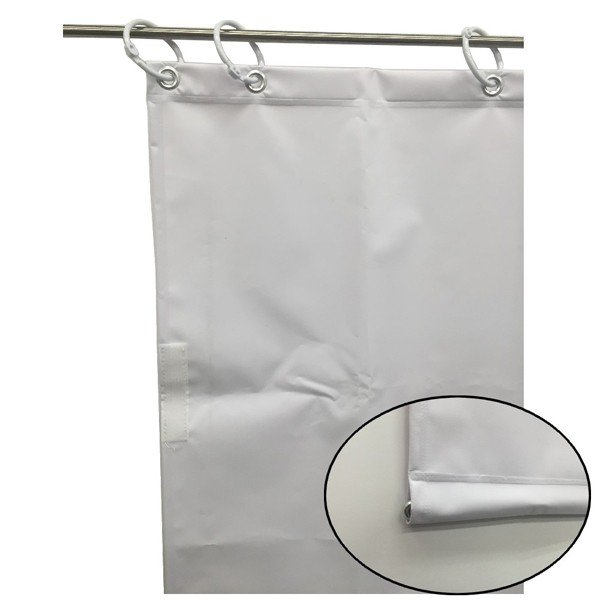 (代引不可)ユタカメイク:オーダー簡易間仕切りカラーターポリン ホワイト 裾チェイン入り 厚み0.25mm×幅420cm×高さ325cm
