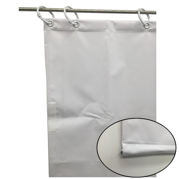 (代引不可)ユタカメイク:オーダー簡易間仕切りカラーターポリン ホワイト 裾チェイン入り 厚み0.25mm×幅300cm×高さ470cm