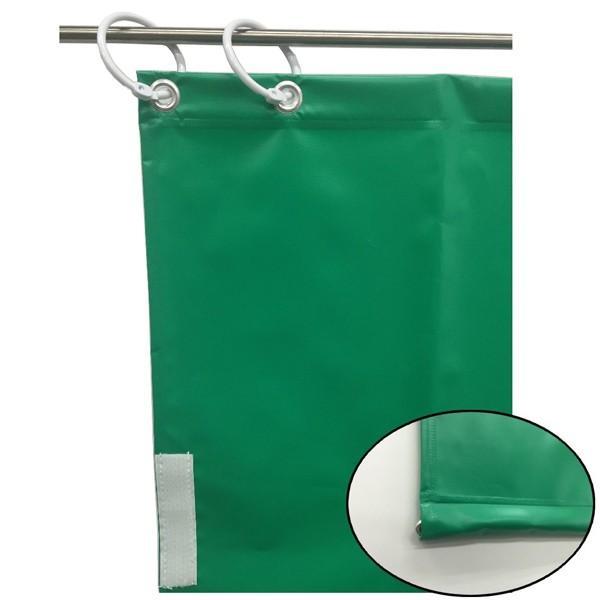 (代引不可)ユタカメイク:オーダー簡易間仕切りカラーターポリン グリーン グリーン グリーン 裾チェイン入り 厚み0.25mm×幅440cm×高さ395cm 8f3