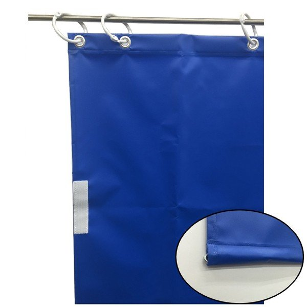 (代引不可)ユタカメイク:オーダー簡易間仕切りカラーターポリン ブルー 裾チェイン入り 厚み0.25mm×幅380cm×高さ410cm