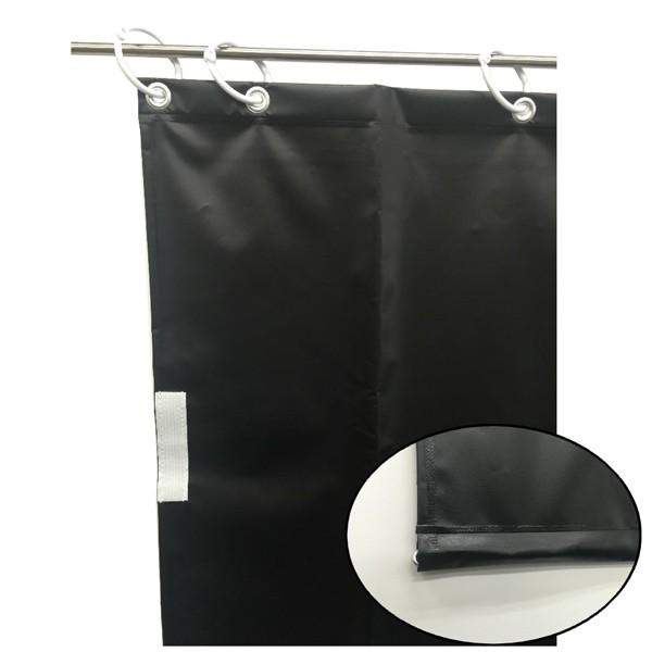 (代引不可)ユタカメイク:オーダー簡易間仕切りカラーターポリン ブラック 裾チェイン入り 厚み0.25mm×幅260cm×高さ125cm