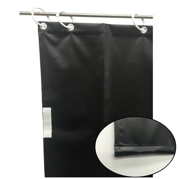 (代引不可)ユタカメイク:オーダー簡易間仕切りカラーターポリン ブラック 裾チェイン入り 厚み0.25mm×幅140cm×高さ335cm