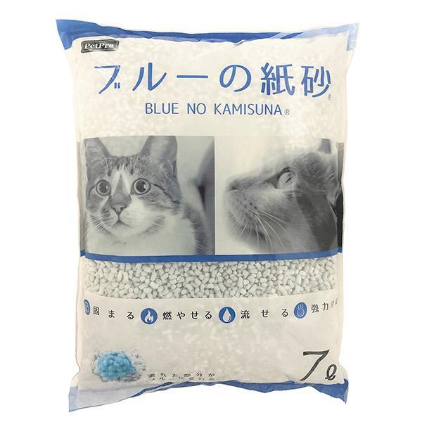 ペットプロジャパン:ペットプロ ブルーの紙砂 7L 猫 砂 猫砂 トイレ 紙 再生紙 固まる 燃やせる 流せる cocoterrace
