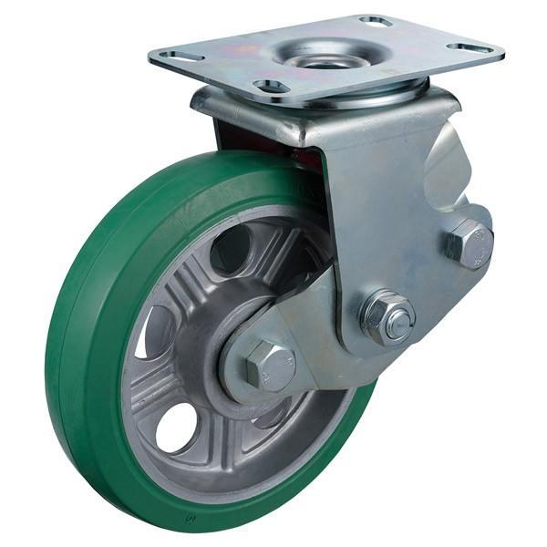 ユーエイキャスター:SKYキャスター SKY-2S型 自在キャスター 自在キャスター 自在キャスター 緑ゴム(鋼板ホイル,B入)車 車輪径 Φ200 cef