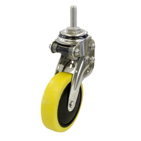 ユーエイ:緩衝器付キャスターポルテ NPT型 自在キャスター 帯電防止性ウレタン(ナイロンホイル,B入)車 車輪径 φ125 ネジ寸 M12×35