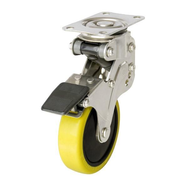 ユーエイ:緩衝器付キャスターポルテ NPG型 自在キャスター ストッパー付 帯電防止性ウレタン(ナイロンホイル,B入)車 車輪径 φ125