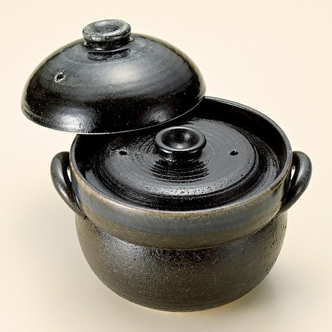 和食器 瑠璃色ブルー釉 ご飯鍋2合炊 中蓋付 萬古焼 土鍋 直火 耐熱 おうち ごはん おしゃれ ギフト 陶器 うつわ|cocottepot|02