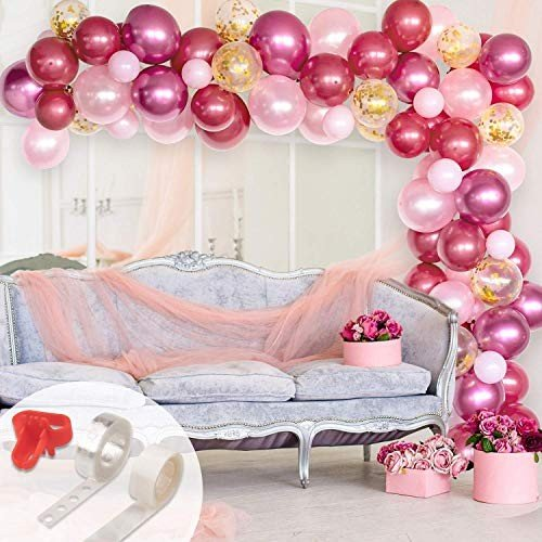 風船 セット 120個 バルーンアーチ 結婚式、お祝い 女の子誕生日 飾り付け バルーン