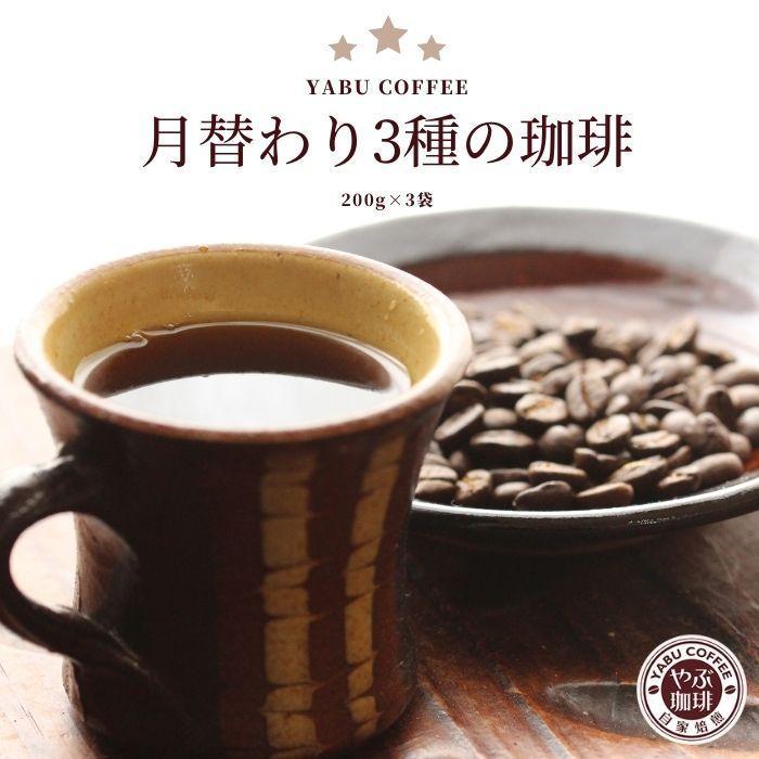 コーヒー豆 月替わり スペシャルティ やぶ珈琲 お試し セット 200g × 3袋   コーヒー 珈琲 やぶ珈琲 自家焙煎 こだわり 生豆 粉 ご褒美 挽き立て coffeeyabu