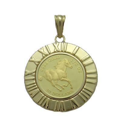 【一部予約!】 ツバルホースコイン1/5オンス純金ペンダント, イタバシク 24ff8350