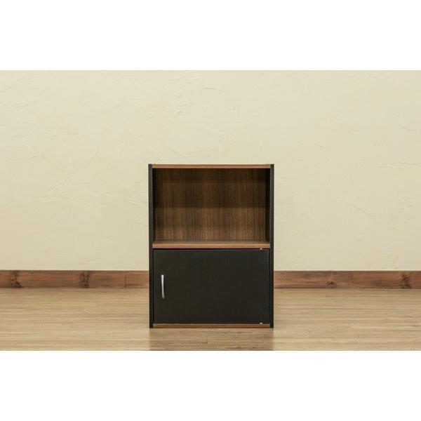 GRANZ 2段ラック 扉1枚付 hmp22 オープンシェルフ 本棚 シンプルチェスト ブラック ホワイト|colabotrading|02
