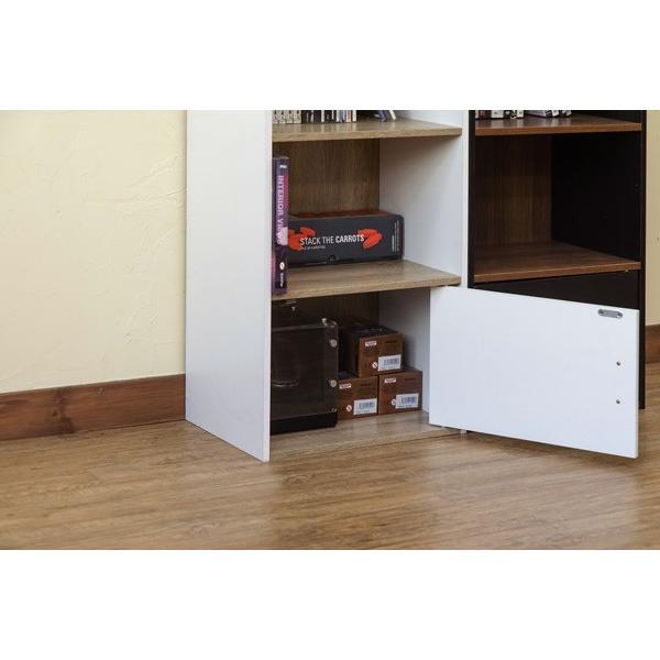GRANZ 3段ラック 扉1枚付 hmp24 オープンシェルフ 本棚 チェスト キッチン収納 ブラック ホワイト|colabotrading|10