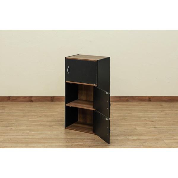 GRANZ 3段ラック 扉3枚付 hmp25 オープンシェルフ 本棚 チェスト キッチン収納 シューズボックス ブラック ホワイト|colabotrading|03
