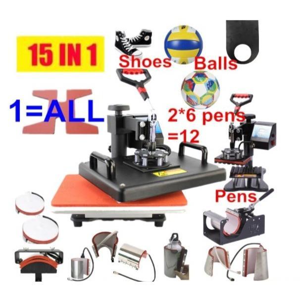 熱転写プレス機 Tシャツプリンター 15種類 15in1 印刷機 ヒートプレス機 熱 プリント キャップ サッカーボール ボトル ペン 靴 マグカップ|colorful-1