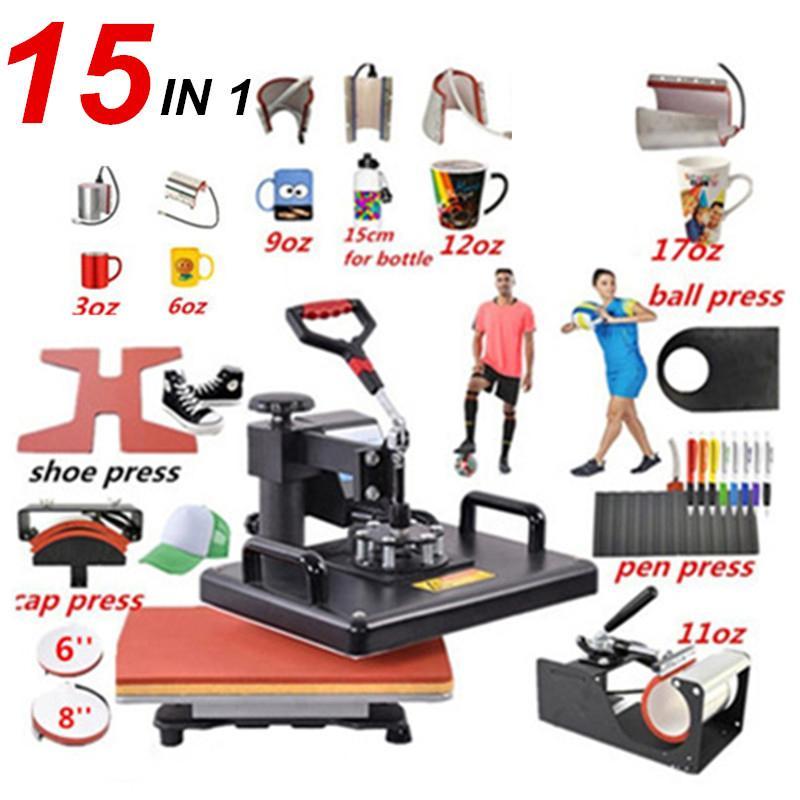 熱転写プレス機 Tシャツプリンター 15種類 15in1 印刷機 ヒートプレス機 熱 プリント キャップ サッカーボール ボトル ペン 靴 マグカップ|colorful-1|08