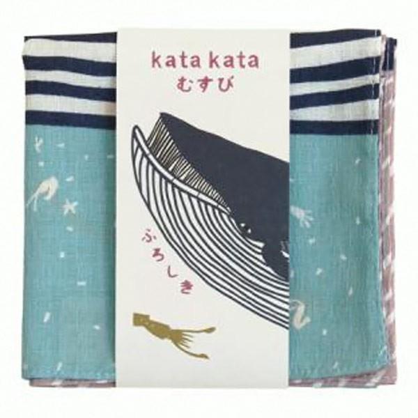 風呂敷 中巾 チーフ katakata むすび くじら 50cm ふろしき ナフキン ランチクロス 綿100% ( 綿 包み お弁当包み キッチンクロス ) colorfulbox 05