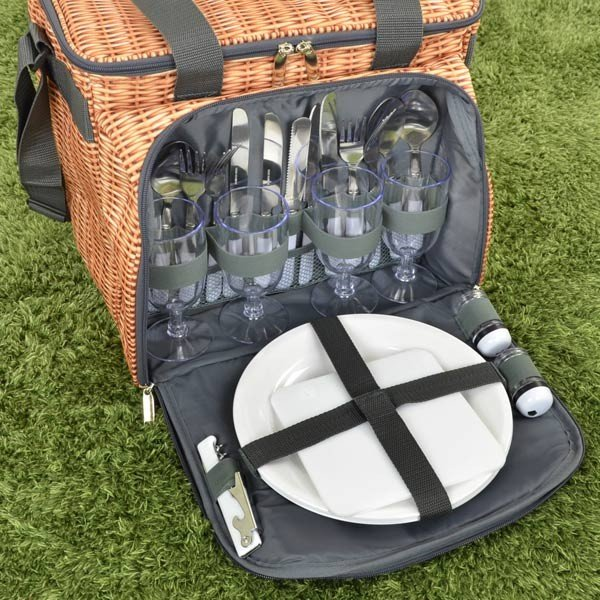クーラーバッグ 食器付きピクニックバスケット バカンスクーラー PANIER 保冷 ファスナー付 ( 保冷バッグ ソフトタイプ 食器セット カトラリーセット ) colorfulbox 06