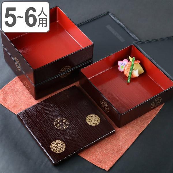 お弁当箱 6.5三段重 木目 小紋 シール蓋付 5700ml ( 弁当箱 お重 おせち 5〜6人用 和柄 お正月 )|colorfulbox