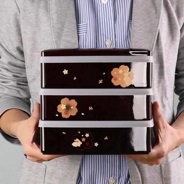 お弁当箱 6.5三段重 溜 夢春秋 シール蓋付 4800ml ( お重 ファミリーランチボックス 日本製 おすすめ )|colorfulbox|03