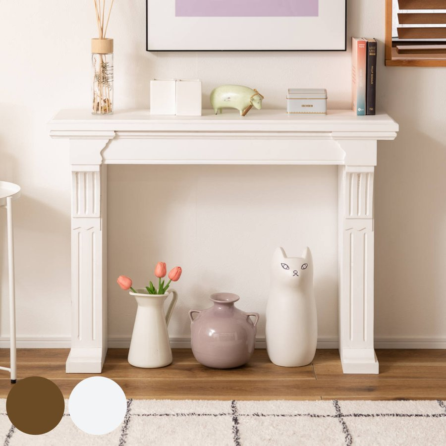 コンソール マントルピース型 レトロ調 天然木 幅100cm ( マントルピース 飾り棚 ディスプレイ 木製 )