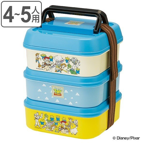 お弁当箱 3段 取り皿付き トイストーリー ランチボックス コンパクト 3段ランチボックス 4500ml ( キャラクター 日本製 ピクニックランチボックス 弁当箱 ) colorfulbox