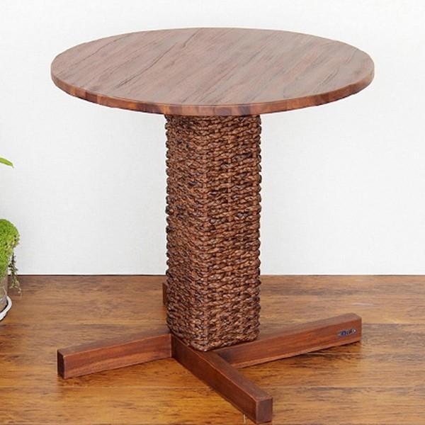 カフェテーブル 円型 アジアンテイスト ウォーターヒヤシンス材 直径70cm ( サイドテーブル コーヒーテーブル ウォーターヒヤシンス ラタン )
