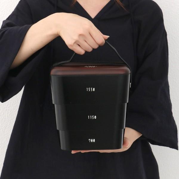 弁当箱 お重 DON 三段重 入れ子式 重箱 3〜4人用 3400ml ( 木目 ランチボックス お弁当箱 シール蓋 お重箱 ) colorfulbox 02