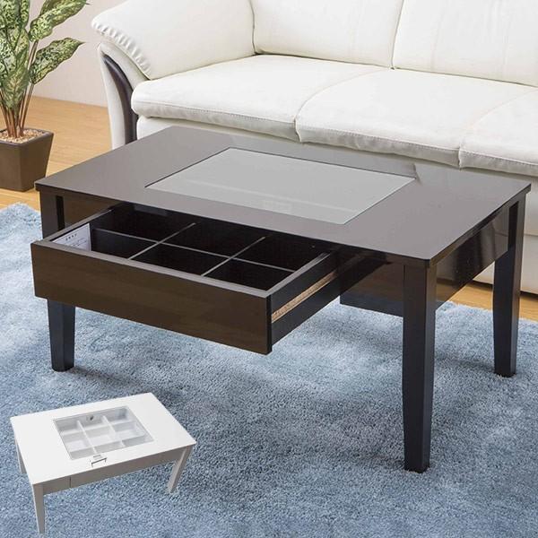 テーブル 幅80cm コレクションテーブル コスメ アクセサリー 収納 センターテーブル ( リビングテーブル ローテーブル 引き出し ディスプレイ )|colorfulbox