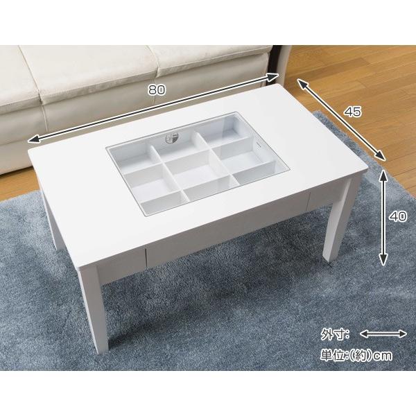 テーブル 幅80cm コレクションテーブル コスメ アクセサリー 収納 センターテーブル ( リビングテーブル ローテーブル 引き出し ディスプレイ )|colorfulbox|04