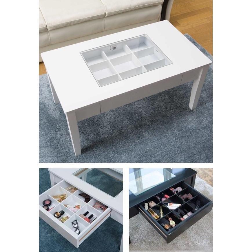 テーブル 幅80cm コレクションテーブル コスメ アクセサリー 収納 センターテーブル ( リビングテーブル ローテーブル 引き出し ディスプレイ )|colorfulbox|06