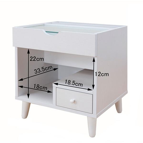 サイドテーブル 幅40cm コスメボックス ガラス天板 コンパクト コスメ アクセサリー 収納 マガジンラック ( テーブル ミニ ドレッサー ソファテーブル )|colorfulbox|04