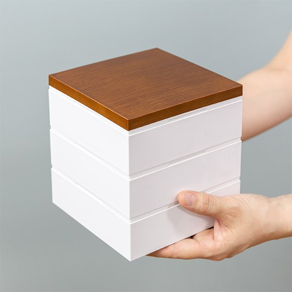 お弁当箱 3段 重箱 木目三段重 15cm 行楽弁当 ( お重 弁当箱 ランチボックス 3段重 ) colorfulbox 06