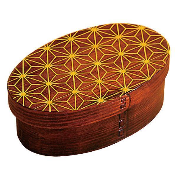 お弁当箱 曲げわっぱ 400ml 1段 小判 麻の葉 漆塗 ( 木製 ランチボックス 弁当箱 一段 わっぱ 和風 )|colorfulbox|16
