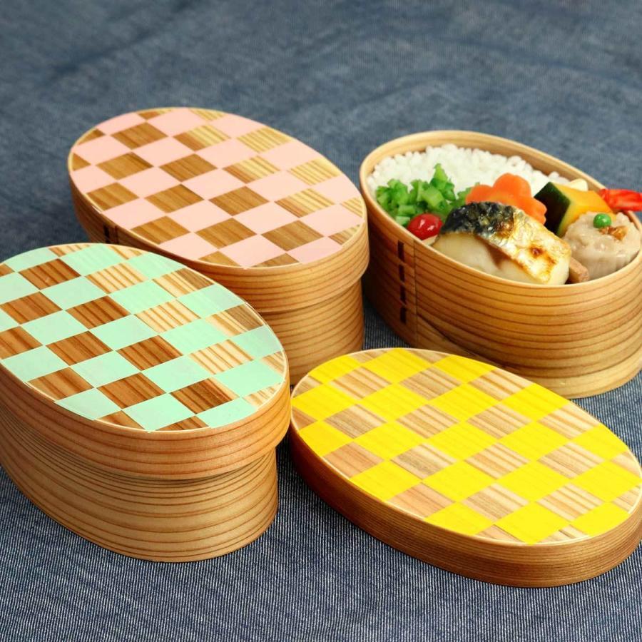 お弁当箱 曲げわっぱ 400ml 1段 小判 市松 ウレタン塗装 ( 木製 ランチボックス 弁当箱 一段 わっぱ 和風 ) colorfulbox 13