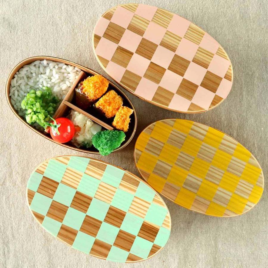 お弁当箱 曲げわっぱ 400ml 1段 小判 市松 ウレタン塗装 ( 木製 ランチボックス 弁当箱 一段 わっぱ 和風 ) colorfulbox 14