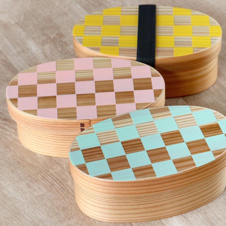 お弁当箱 曲げわっぱ 400ml 1段 小判 市松 ウレタン塗装 ( 木製 ランチボックス 弁当箱 一段 わっぱ 和風 ) colorfulbox 15