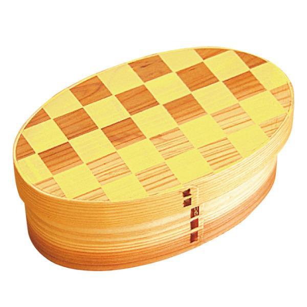 お弁当箱 曲げわっぱ 400ml 1段 小判 市松 ウレタン塗装 ( 木製 ランチボックス 弁当箱 一段 わっぱ 和風 ) colorfulbox 16