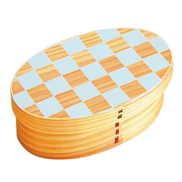 お弁当箱 曲げわっぱ 400ml 1段 小判 市松 ウレタン塗装 ( 木製 ランチボックス 弁当箱 一段 わっぱ 和風 ) colorfulbox 17
