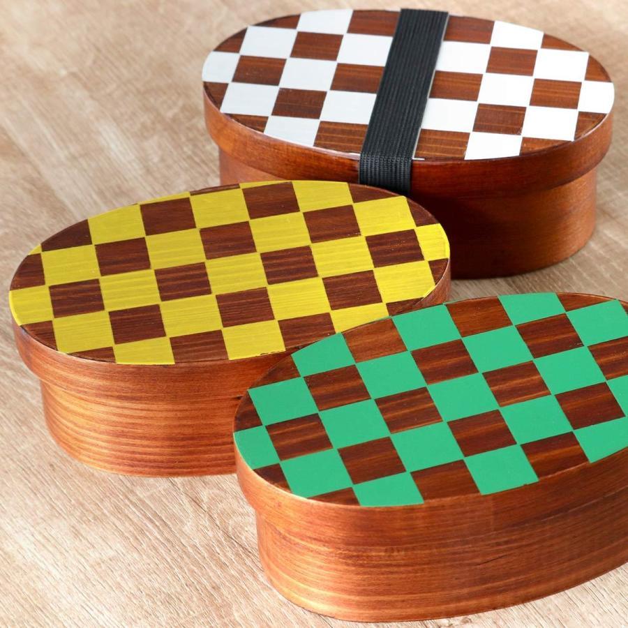 お弁当箱 曲げわっぱ 400ml 1段 市松 小判 漆塗 ( 木製 ランチボックス 弁当箱 一段 わっぱ 和風 ) colorfulbox 13