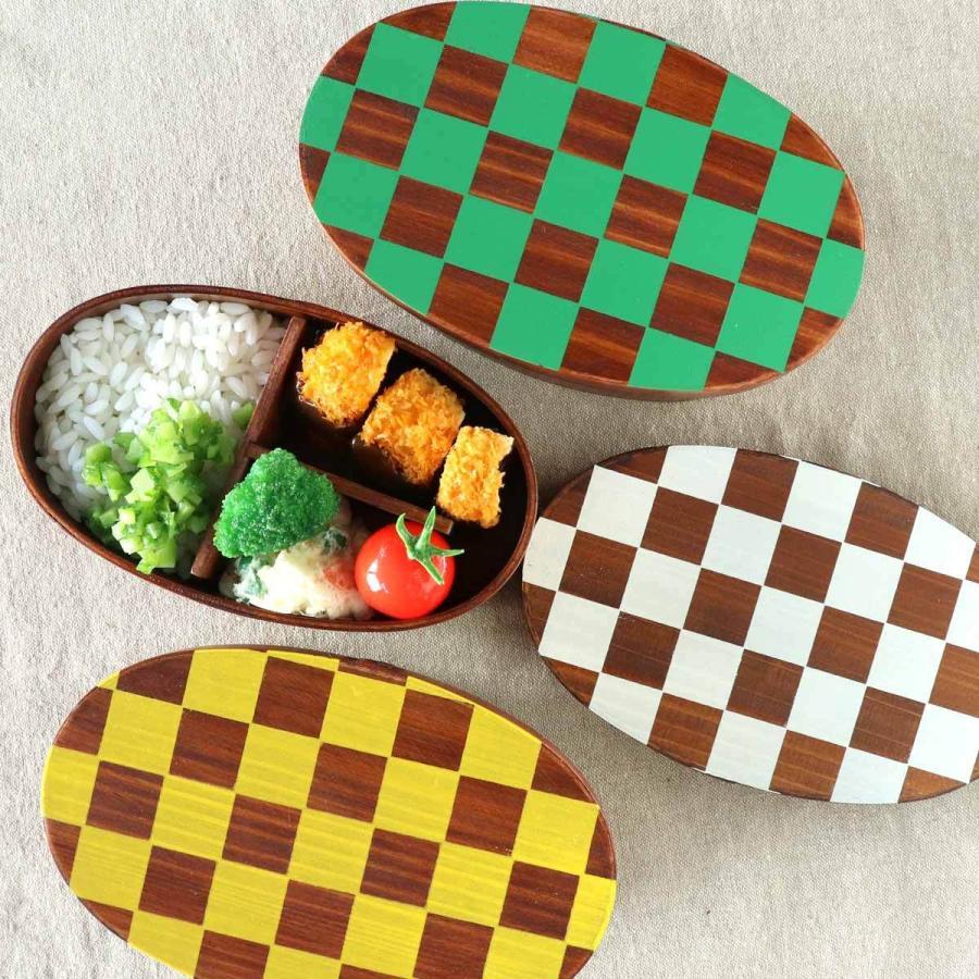 お弁当箱 曲げわっぱ 400ml 1段 市松 小判 漆塗 ( 木製 ランチボックス 弁当箱 一段 わっぱ 和風 ) colorfulbox 14