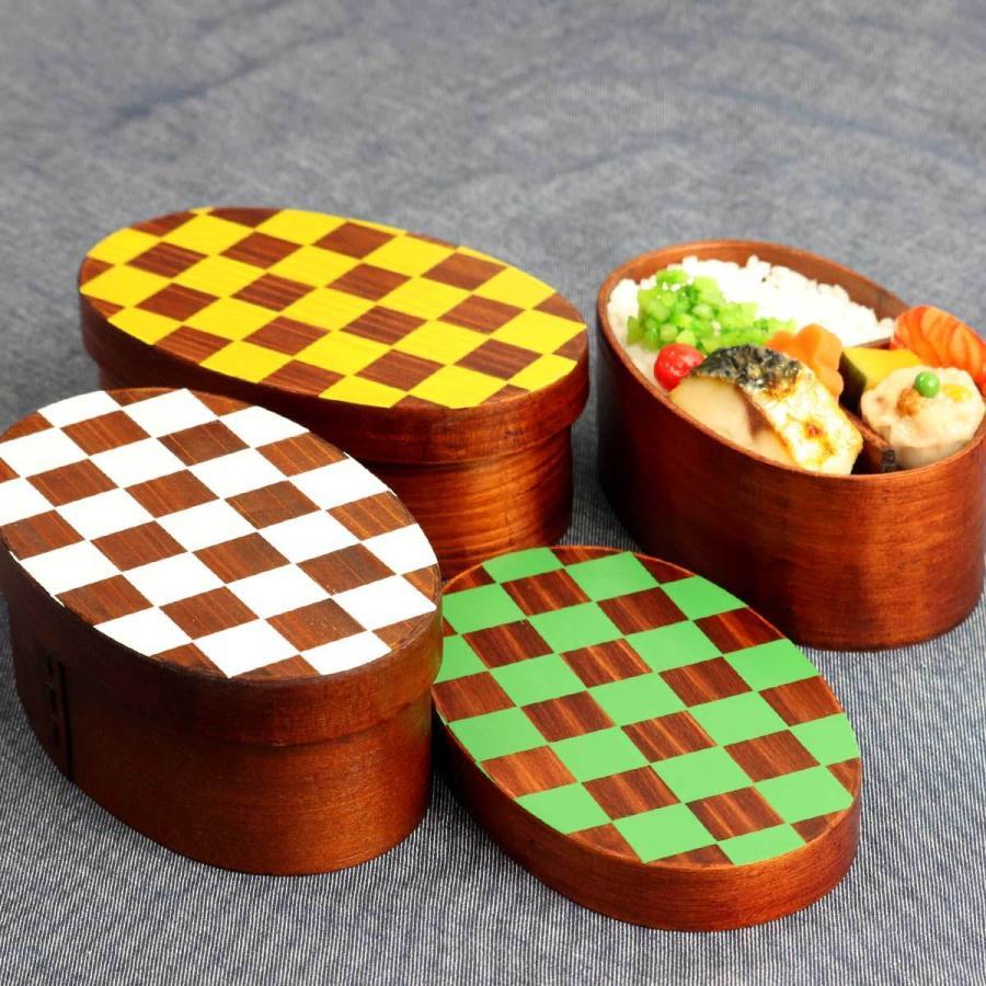 お弁当箱 曲げわっぱ 400ml 1段 市松 小判 漆塗 ( 木製 ランチボックス 弁当箱 一段 わっぱ 和風 ) colorfulbox 15