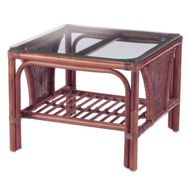 籐 ガラステーブル ラタンフレーム 正方形 幅55cm ( アジアン家具 籐家具 ローテーブル )