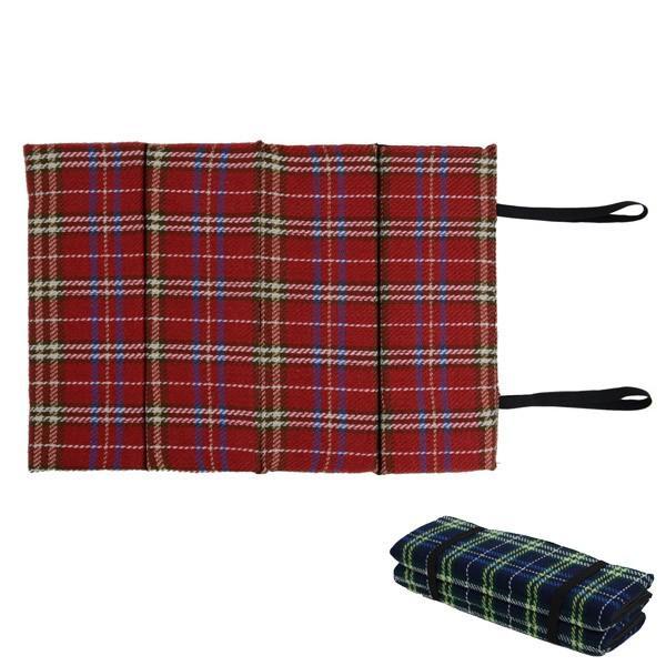 レジャークッション タータンチェック おでかけ座布団 ( 折りたたみ 携帯用 マット )